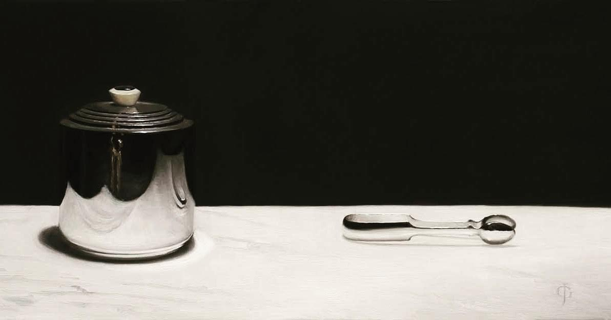 """Silver Buscuit Barrel & Tongs 294mm x 635mm (11 ¹¹/₁₆"""" x 25"""")Oils on linen over panel"""