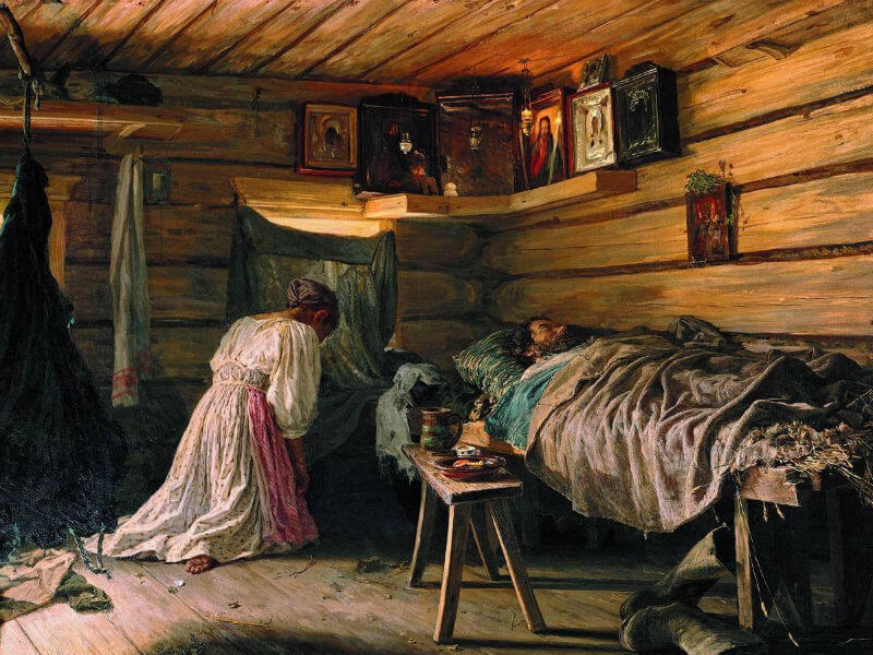 Vassily Maximov, 'Sick Husband', painted in 1881, showing a traditional icon corner