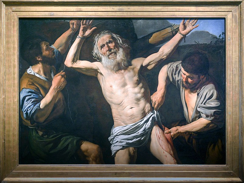 The Martyrdom of St. Bartholomew by French artist Valentin de Bologne. He traveled to Italy (as his name suggests) in the early 17th century and was influenced by Caravaggio. His work is typical of the Baroque art of the period.