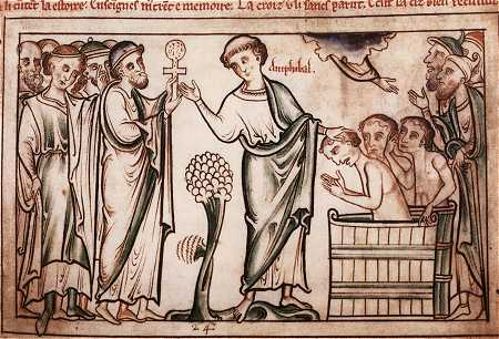 St Amphibalus (a convert of St Albans) baptizing converts (note full immersion.