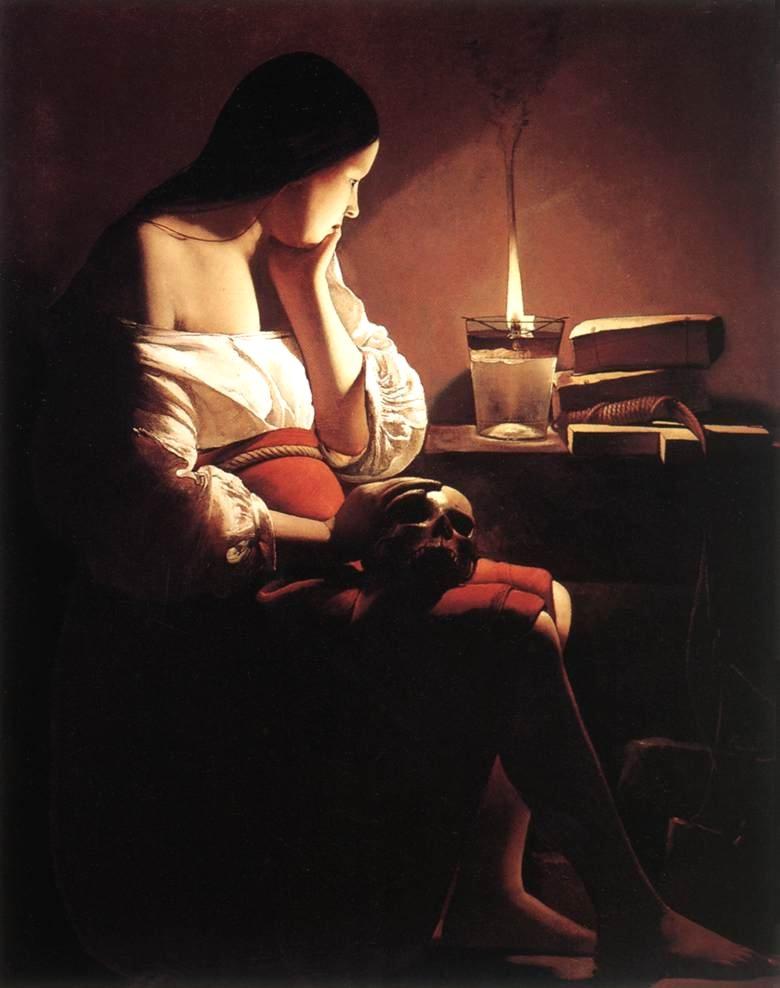 The Penitant Magdalen contemplates Christ with her Stella Maris candle! (Painted by Georges De La Tour)