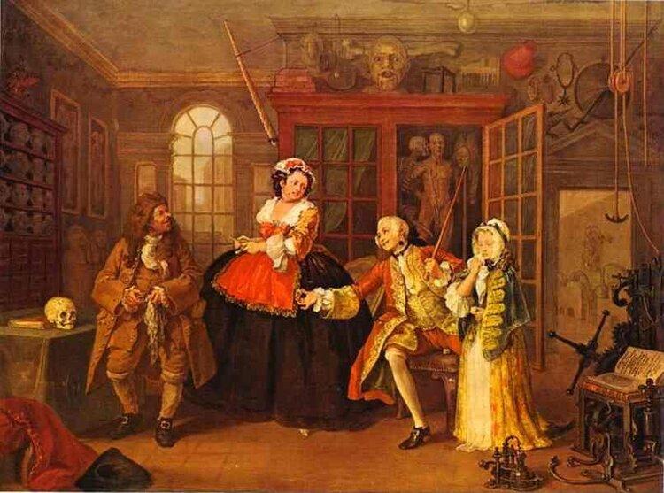 Een bezoek aan de kwakzalver, door Hogarth, Engelse 18e eeuw. We kunnen vandaag beter verwachten, omdat de behandeling van lichamelijke aandoeningen dramatisch is verbeterd, maar met welk doel?