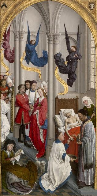 De rechtervleugel van het altaarstuk van de zeven sacramenten van Rogier van der Weiden, ca. 1445-50, met afbeeldingen van heilige orden, huwelijk en de zalving van de zieken. (Afbeelding van het publieke domein van Wikimedia Commons, bijgesneden.)