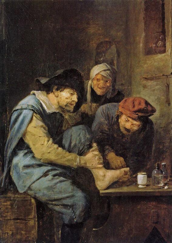 De kapperschirurg door Adriaen Brouwer, Vlaams, 17e eeuw. Als we ons idee van de menselijke persoon beperken tot lichaam-als-machine, zijn onze moderne artsen dan niet gewoon verheerlijkte hoogopgeleide kappers? Ik zou het zo willen beweren, behalve dat de kapper in ieder geval meestal voldoende geïnteresseerd is als persoon om te vragen waar je naartoe gaat voor je vakantie. Geen enkele dokter heeft me dat ooit gevraagd!