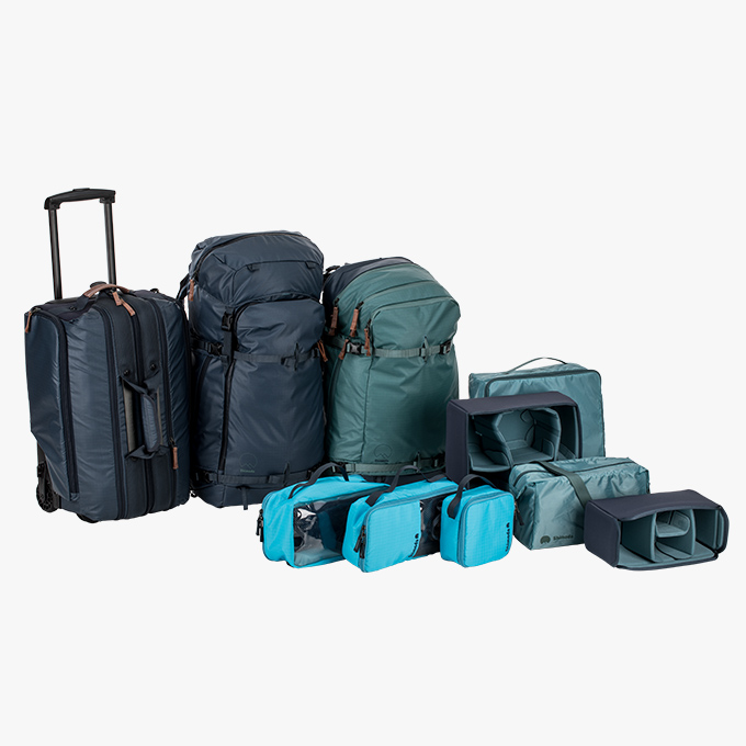 Explore Team Kit - 1x Explore 40 Backpack1x Explore 60 Backpack1x Carry-On Roller2x Small Core Units2x Medium Core Unit1x Small Accessory Case1x Medium Accessory Case1x Large Accessory CaseAll Shimoda products come with a 5-year warranty