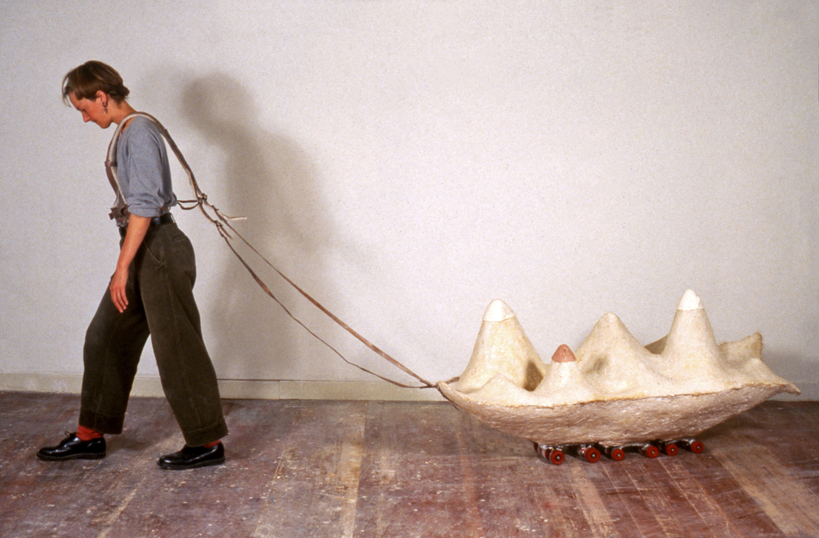 ISLAND (1991) / Plaster and leather, 21 x 34 x 45""
