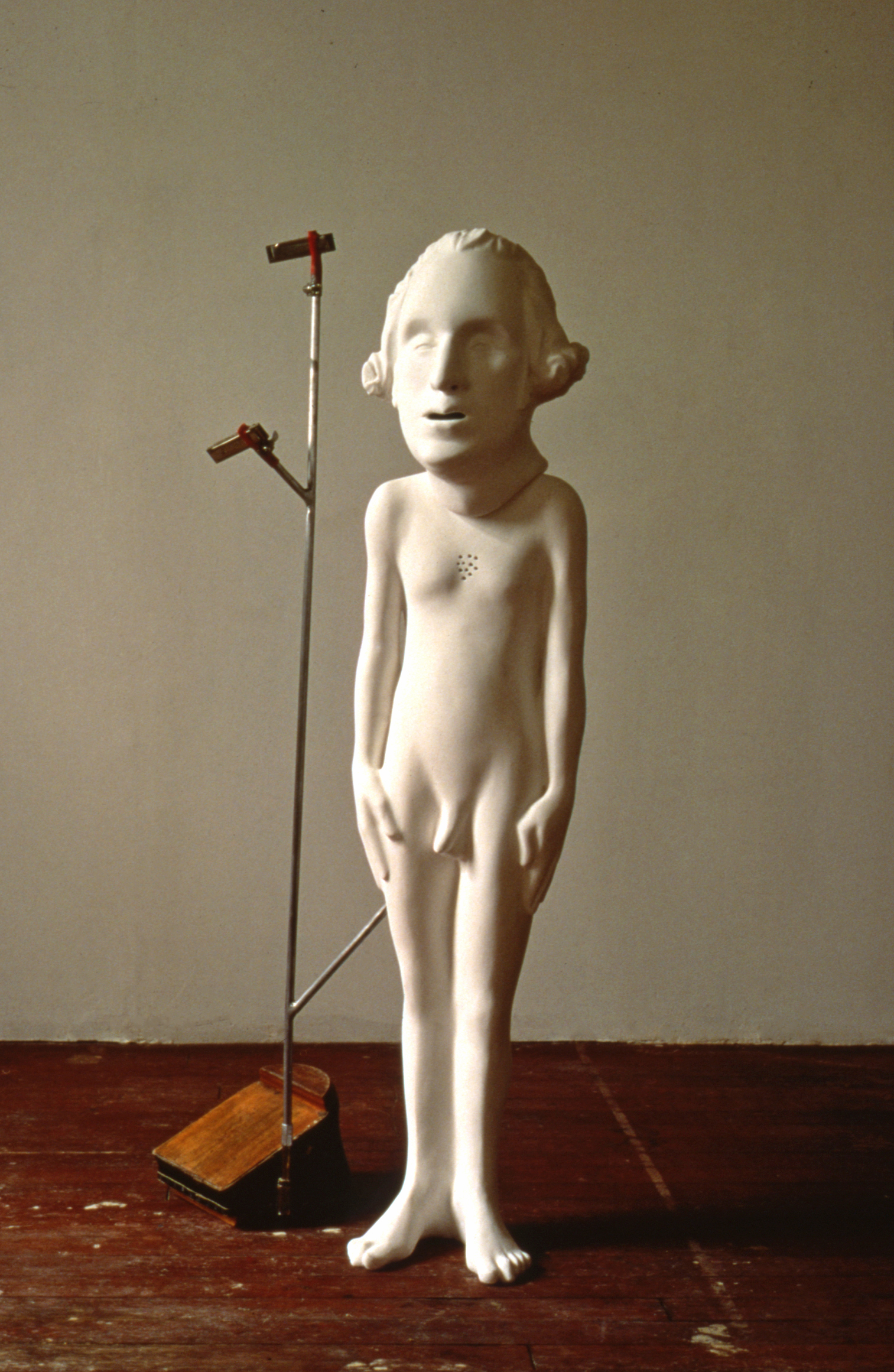 GEORGE (1993) / Fixall®, rabbit skin glue & whiting, steel, tubing, harmonicas, 57 X 28 X 16""