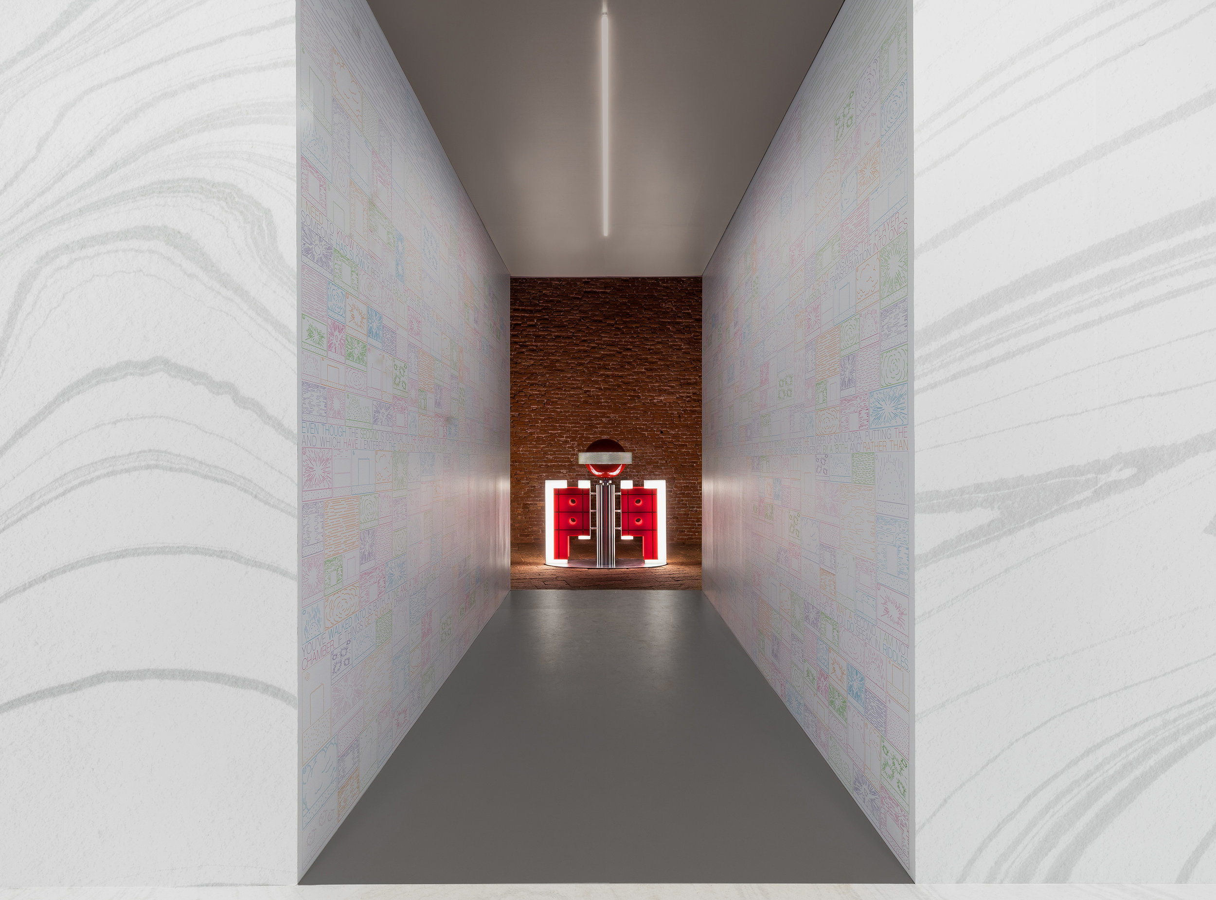 Room 7. A narrow hallway leads visitors out of the exhibition space. Along the walls are cartoon images of a cell exploding. Text by Elena Sorokina lines the walls in two horizontal bands.