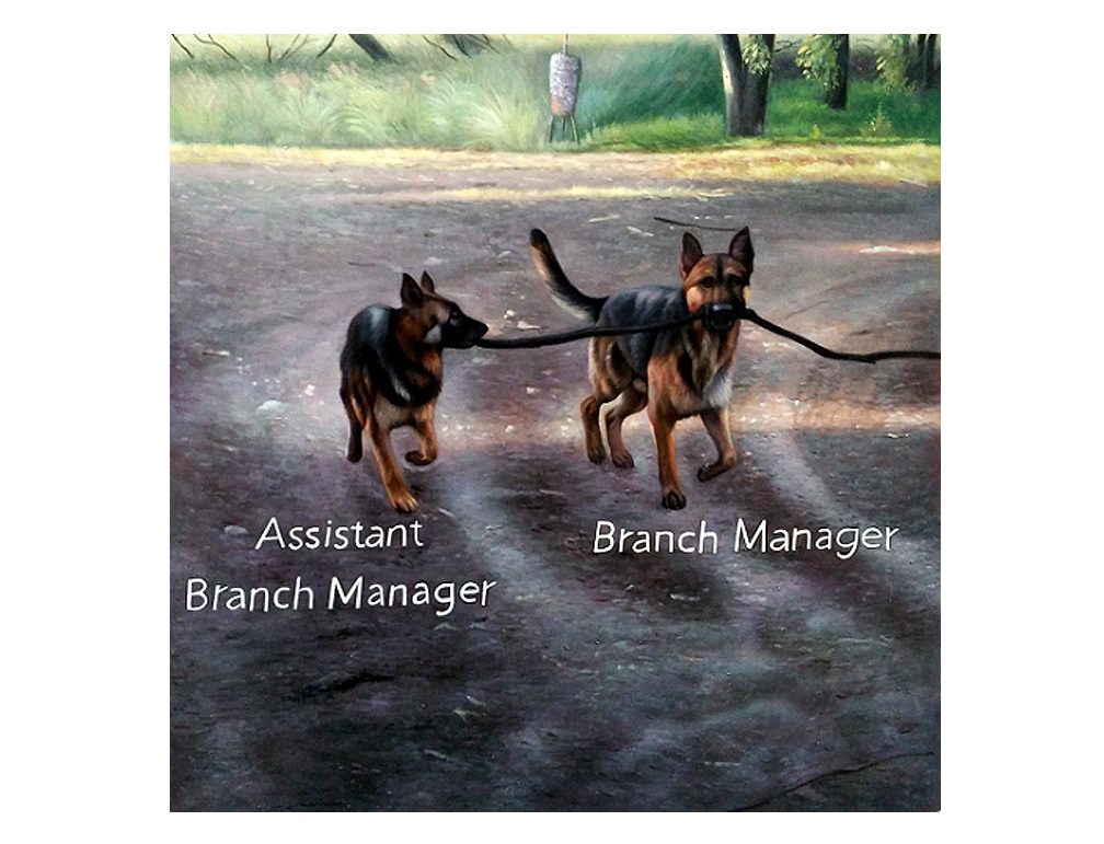 Assistant Branch Manager, Branch Manager  2016  Oil on Canvas  48 x 48 in.