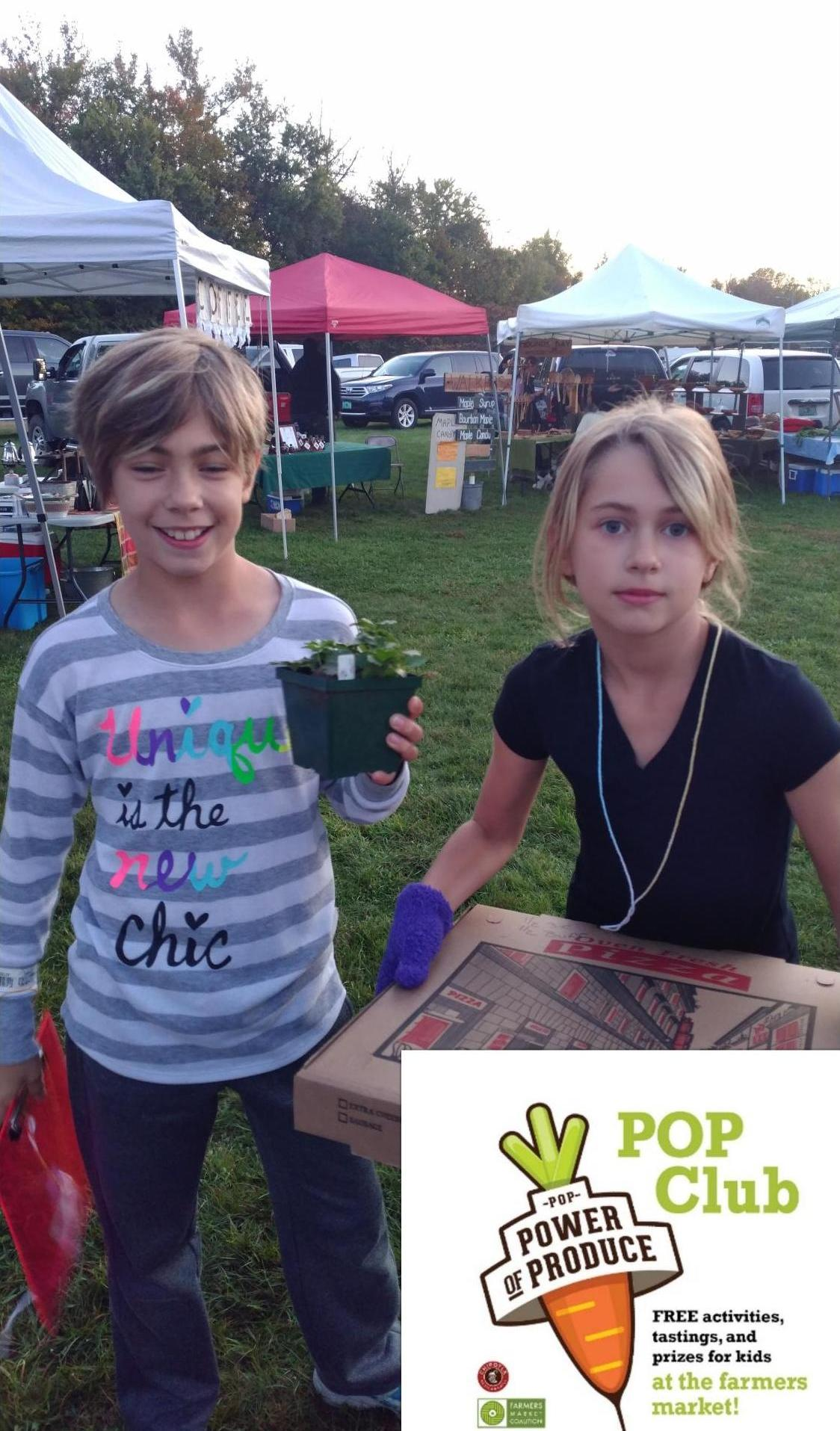 POP Club - POP Club is a fun childrens program which focuses on nutrition education and empowering kids 6-12 to make healthy food choices.  Kids who participate recieve $3 per week to spend on fresh fruits & veggies at the market!
