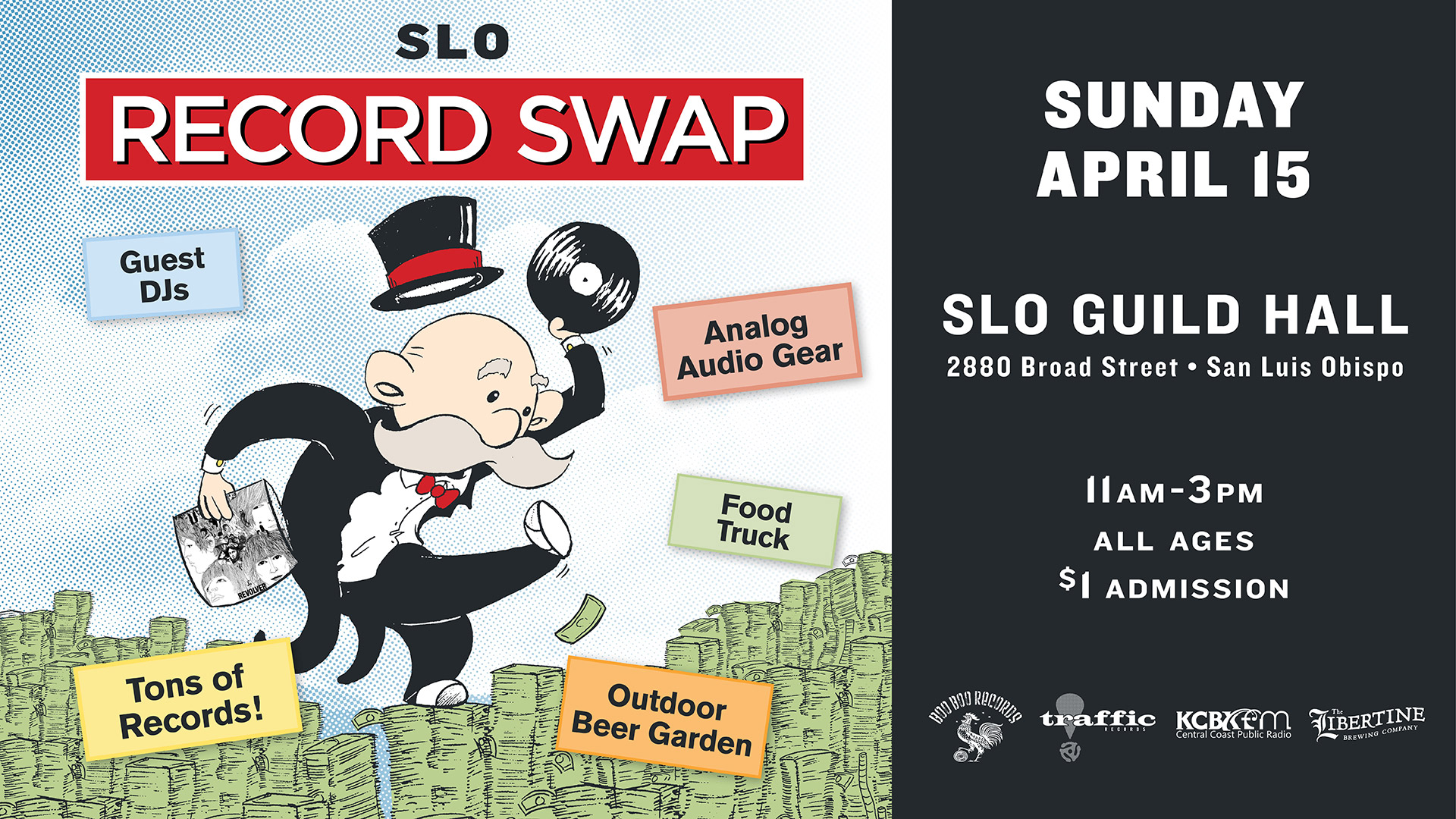 SLO Record swap Sunday 4/15/2018 SLO Guild Hall (Formerly Grange Hall) 2880 Broad St. San Luis Obispo Ca.