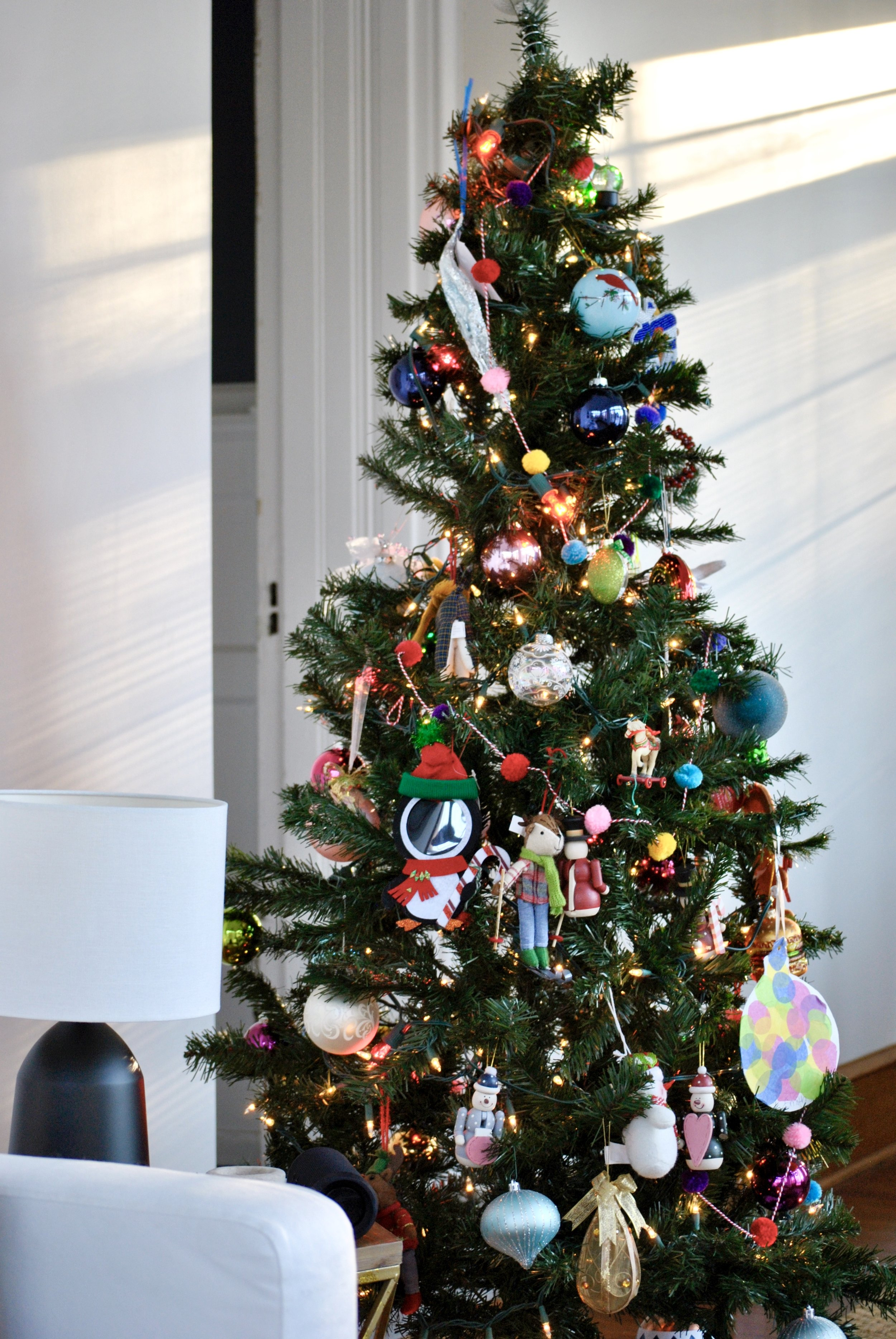 Kids Christmas Tree filled with fun colorful ornaments | Sharp + Grey Interiors