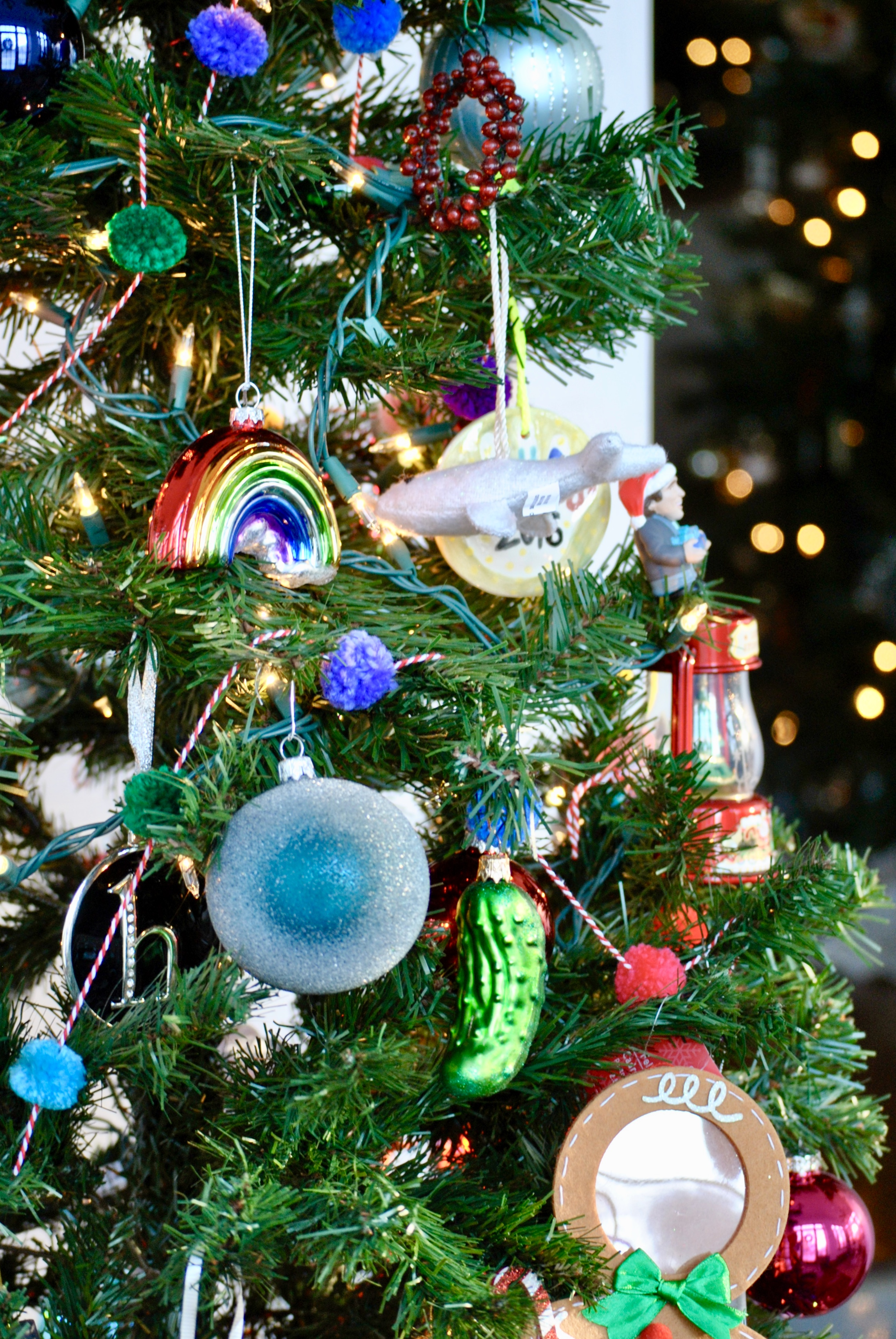 How to decorate a Fun Kids Christmas Tree with colorful ornaments | Sharp + Grey Interiors