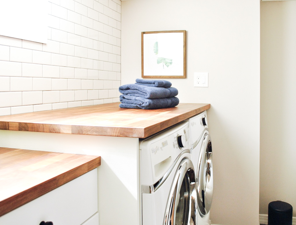 Laundry room with butcher block counter tops | Sharp + Grey Interiors