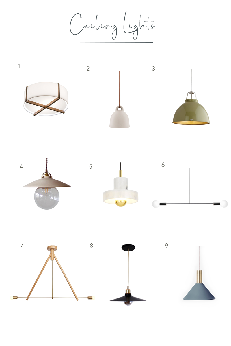 A round-up of favorite ceiling lights from shophorne.com by Sharp + Grey Interiors