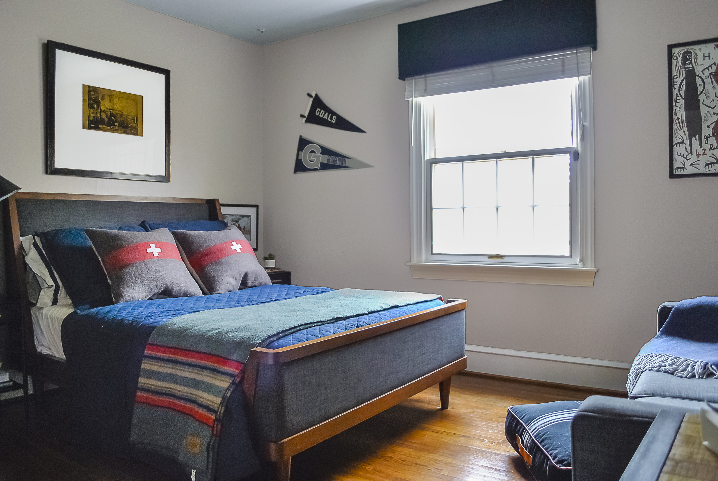 This teenage boys bedroom blends a classic vintage feel with a nod to the outdoors. Designed by Sharp + Grey Interiors