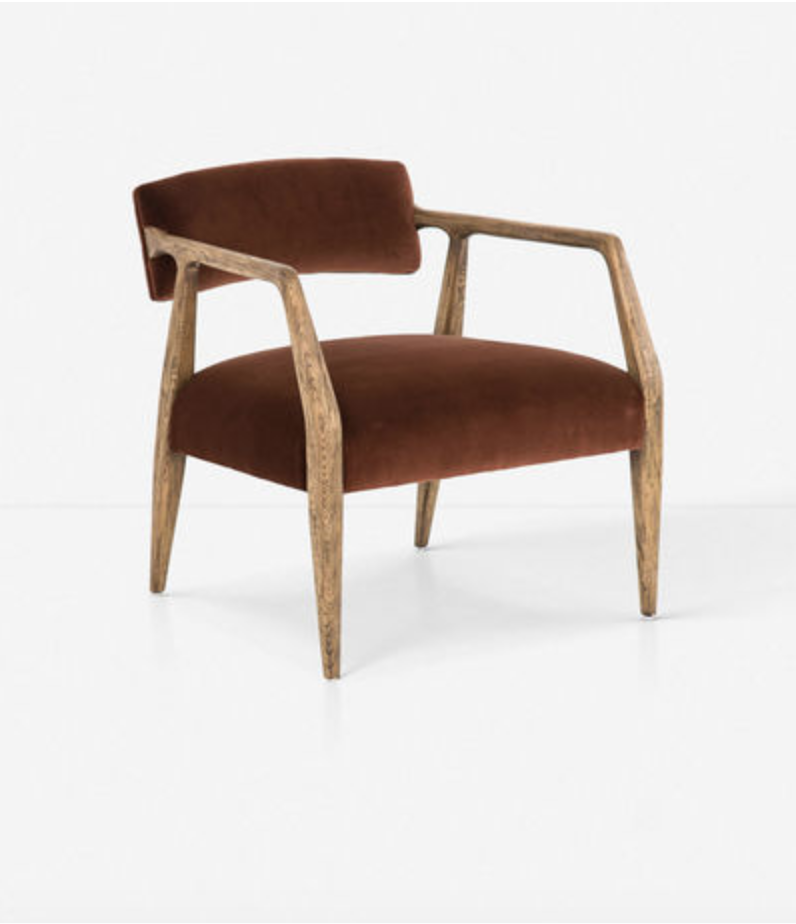 Shop Sharp + Grey Interiors September Favorites. This sculptural seat for your space features an oak wood frame with velvet upholstery. Rustic finish emphasizes the oak wood grain, with cushions at back and seat with a suspended silhouette.