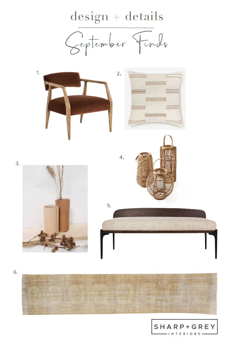 Shop the Septembers favorite finds from Sharp + Grey Interiors. As we say goodbye to summer and usher in fall, the color palette of rust, warm tan and yellow and lots of textures these items are a great addition to your home.