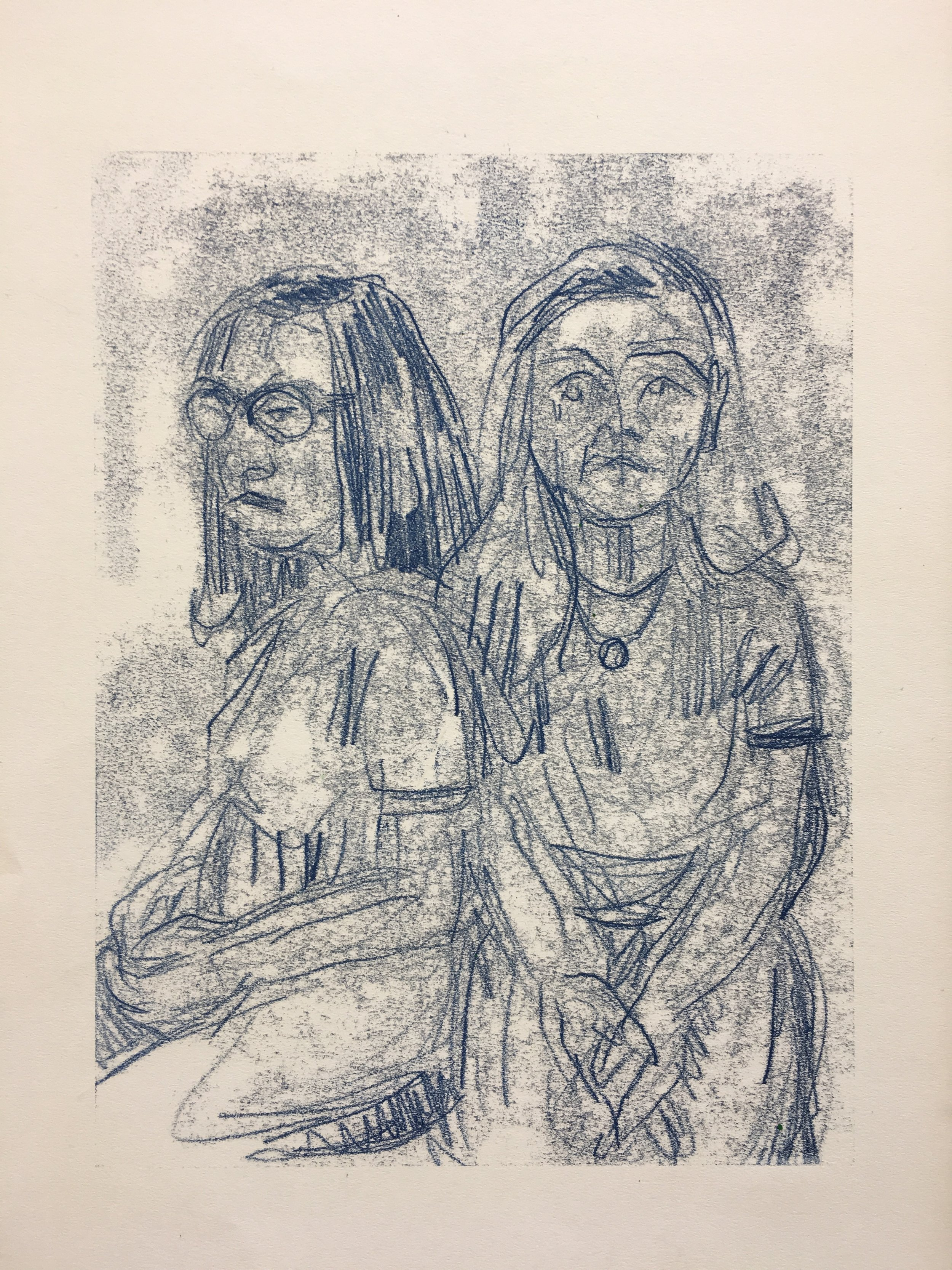 Coby and Taylor (ink transfer monotype drawing) / Fishers High School IN