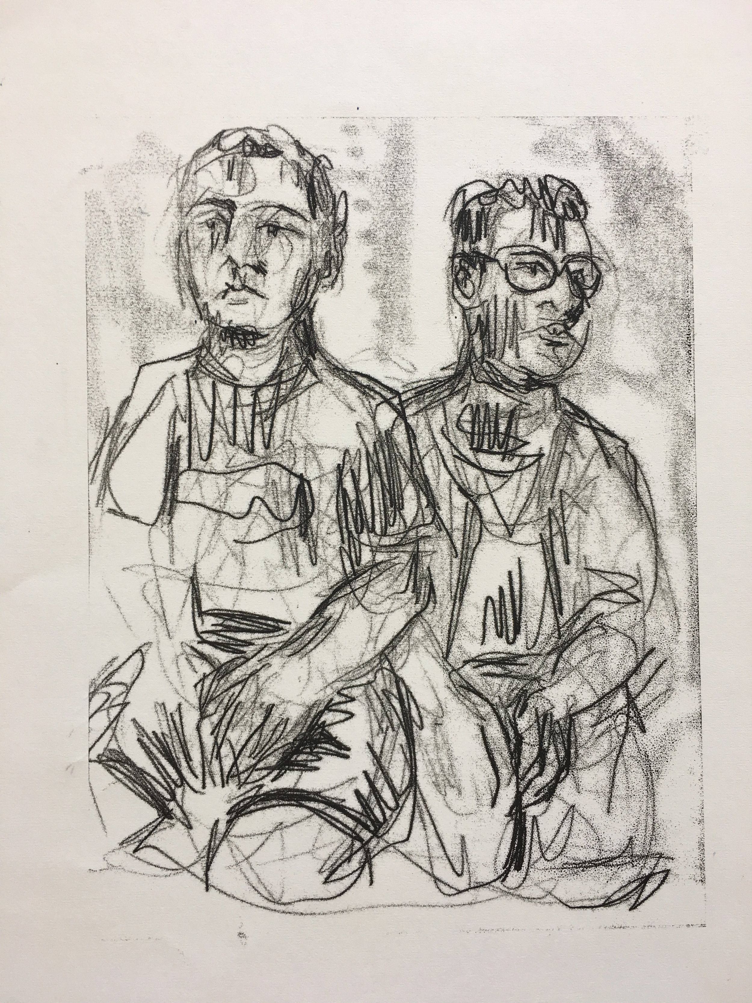 Leyton and Kyron (ink transfer monotype drawing) / Fishers High School IN