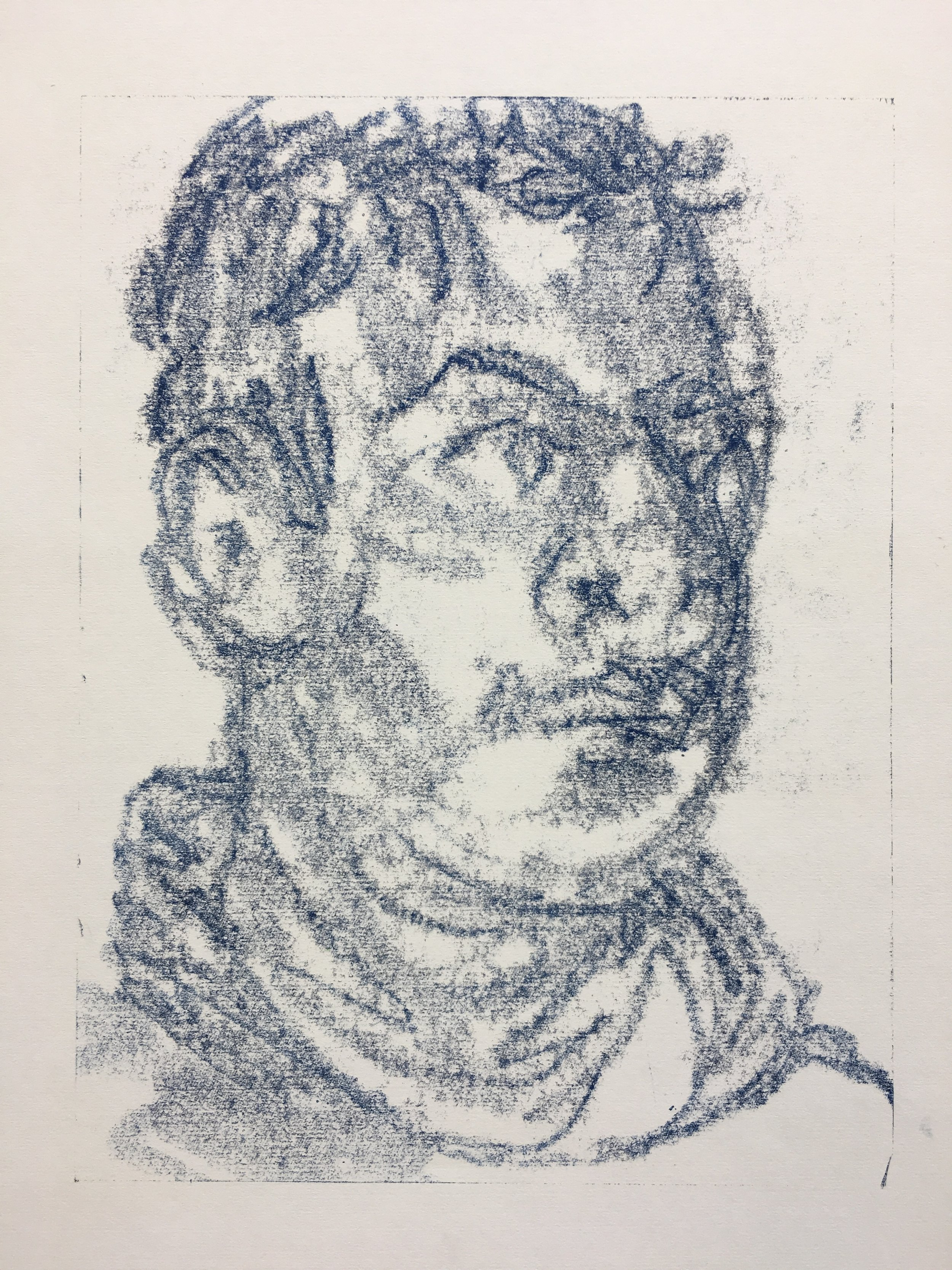 Gabe (ink transfer monotype drawing) / Fishers High School IN