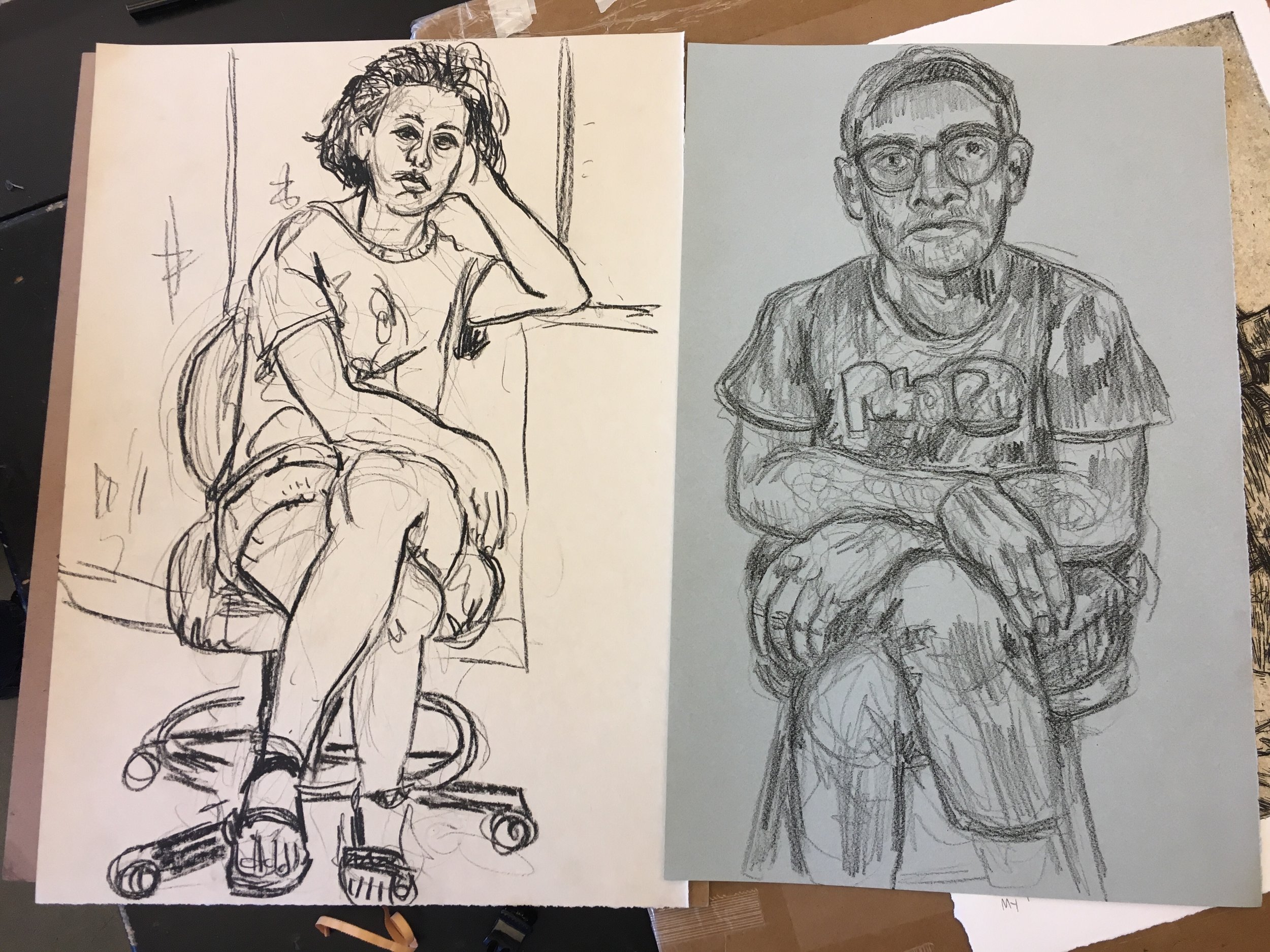 Trading portraits before leaving (drawing on left by Teddy Lepley) / Muncie IN