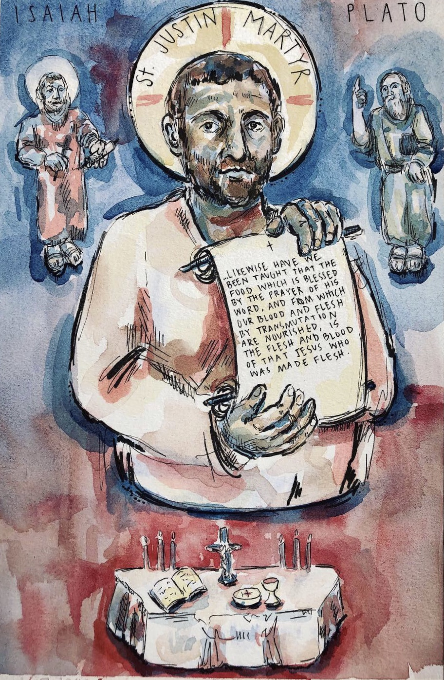 St. Justin Martyr (Commissioned gift collaboration with Ben Cepican)
