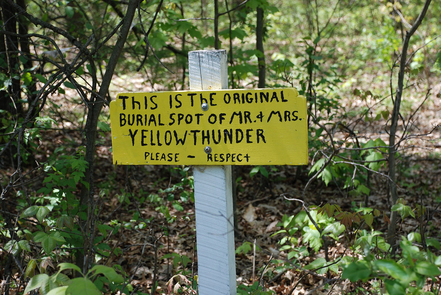 The original burial site of Yellow Thunder and his wife