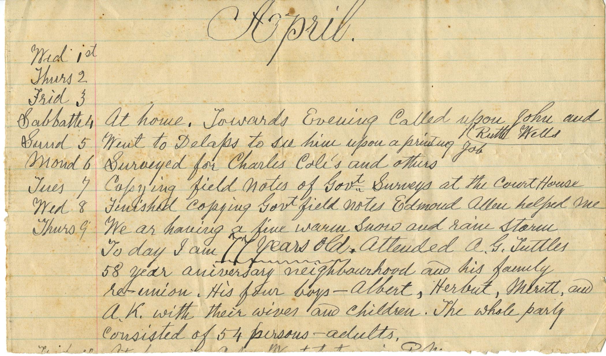 Original Wm Canfield Diary