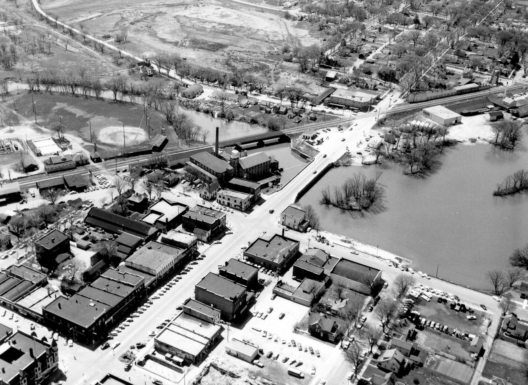 1958 Woolen Mill, center. Ball Field, upper left