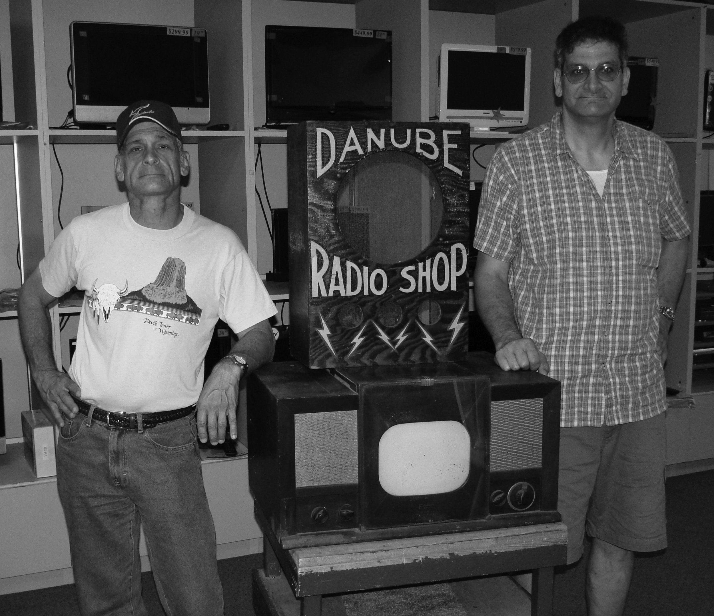 Ted Danube left, and his brother, Tom, (sons of Dan and Dorothy), donated the Fada TV set, the first one in Baraboo, to the Sauk County Historical Society.