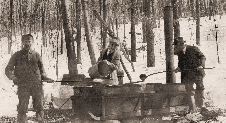 Sugar Camp south of Baraboo, April, 1924. L-R: William Hazeltine, Eugene Heukr, Rev. E.C. Heukr.