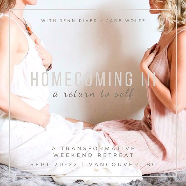 """✨💫WE ARE LIVE💫✨Homecoming Retreat: a Return To Self September 20-22   West Vancouver, BC •••LINK IN BIO••• . When we think of """"Returning to Self"""", we imagine an unlearning, a remembrance, a softening... an opening that happens from the deep within, helping us reveal the love that exists in our hearts. It's a simple invitation that tells parts of our Self — the parts we have fallen out of relationship with — that it is safe to come Home. . Join @jadewolfe_ and I for a transformative weekend of movement, sound healing, sisterhood, ceremony, and deep self exploration. Oh, and on top of all that magic, our girl @rachvklobchar will be nourishing our bodies every step of the way. You won't want to miss this. . ✨""""I left the weekend feeling more connected and in love with myself then ever before. I feel like a part of my soul healed, allowing me to feel whole."""" ~ Hannah S. . ✨""""The Homecoming retreat was such a transformational, pivotal choice toward embarking on my own path to healing. The retreat created a space to be vulnerable, and the support to explore the edges of myself. The meditations, yoga, food, and sisterhood provided a safe place to delve deep into myself, rediscover my Self, and invite my pieces back home."""" ~ Elizabeth G. . ✨""""Homecoming for me was truly just that: a coming Home. It was deeply transformational, nourishing and could not have been more.. right. I have gained a belief and peace in my healing, a reclaimed sense of wholeness, and a comfort in knowing that beautiful community exists around us if we open up. PS. Food was bomb. Location was incredible. Vibes were unbeatable."""" ~ Haley P."""