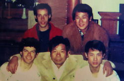 Rob (bottom left), Saito Sensei (middle) and Jason (bottom right) on their first trip to Japan at 18 years old. Matthew Flamm (top left) and the young Shigemi Inagaki Shihan (top right)