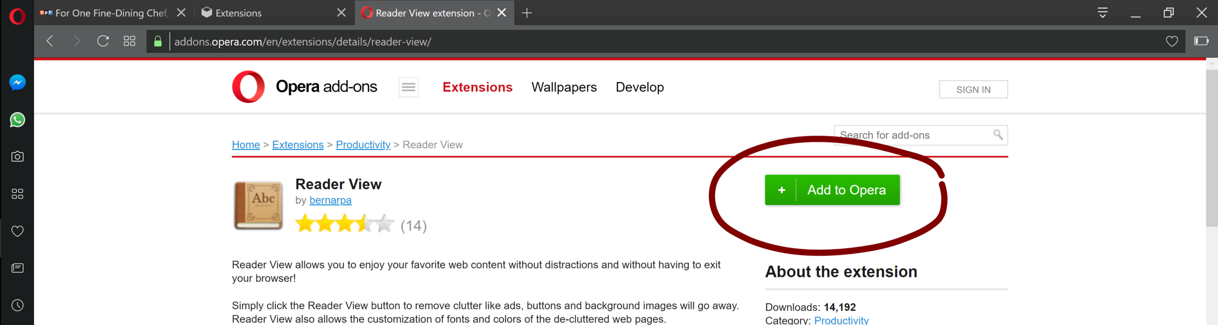 Step 4 - Select the extension and then click on Add to Opera
