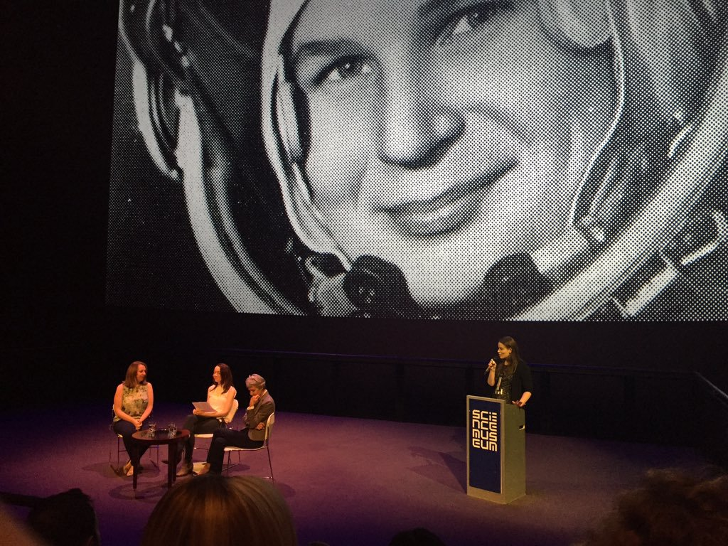 Helen Keen chairs the Women in Space panel, with the UK Space Agency's  Libby Jackson  and ESA astronaut  Dr Claudie Haigneré , inaugural event for the  COSMONAUTS: Birth of the Space Age  exhibition at the  Science Museum , London. Photo credit Emma Smith