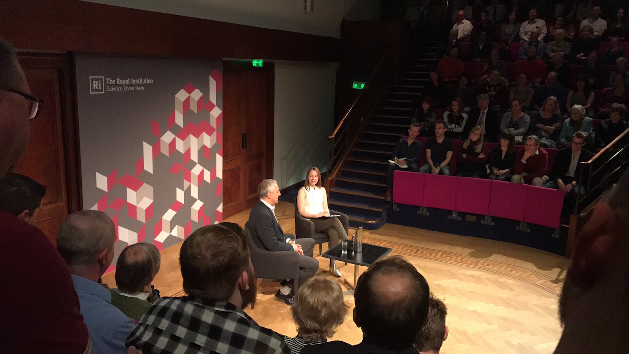 Helen Keen interviews NASA astronaut  Mike Massimino  at the  Royal Institution , London. Photo credit Karl Webb