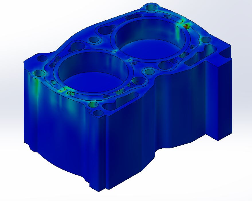 EJ25 Analysis - The analysis of our insert design shows work hardening of the casting and billet insert material in non critical areas, and stress distribution in critical areas such as the cylinder wall. The is what increases the life of your motor. We also see greater heat transfer rates with our increased surface area on the