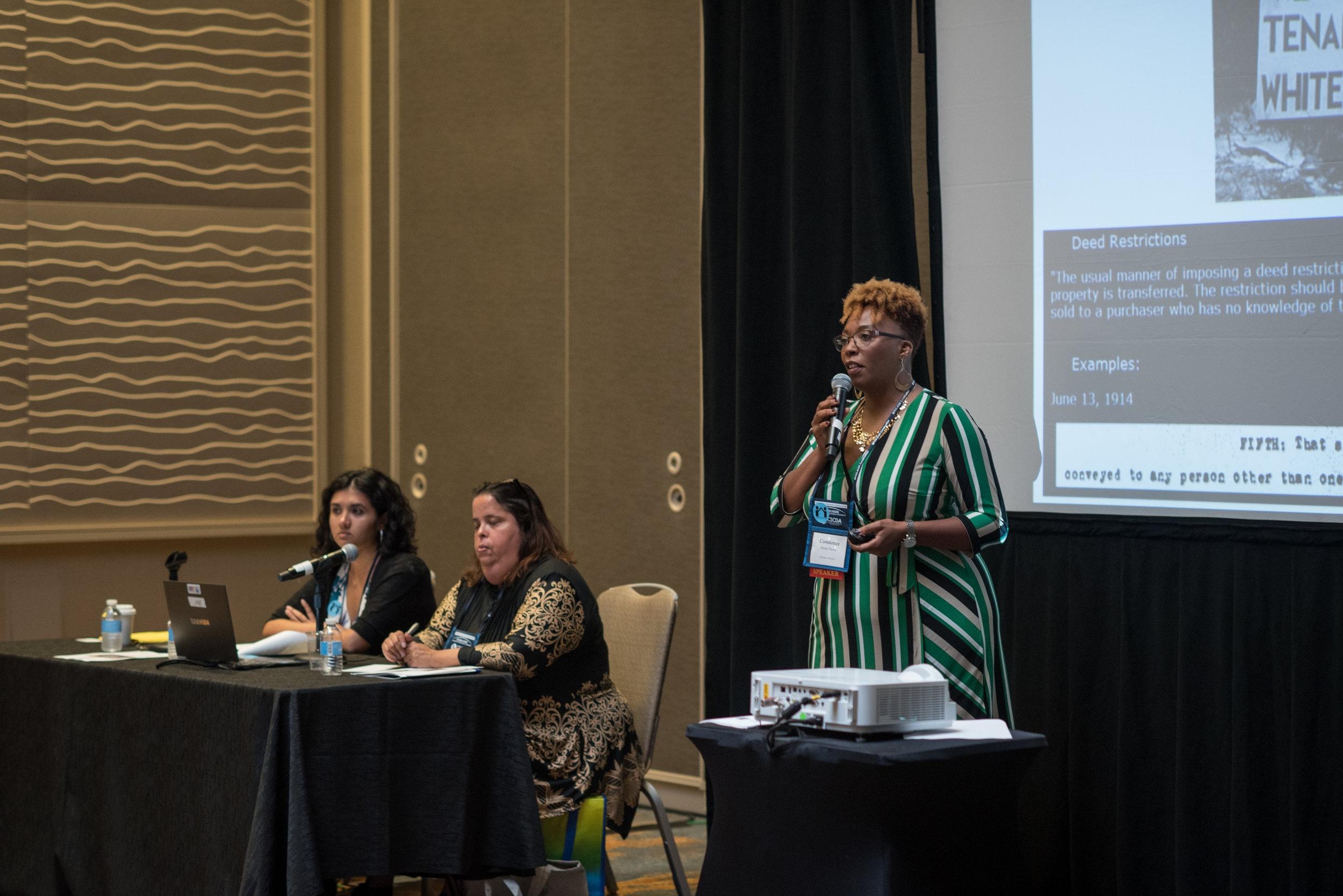 Constance Slider-Pierre, Maria Hernandez, and Mehrsa Imani at Conference Workshop, Oct 2018