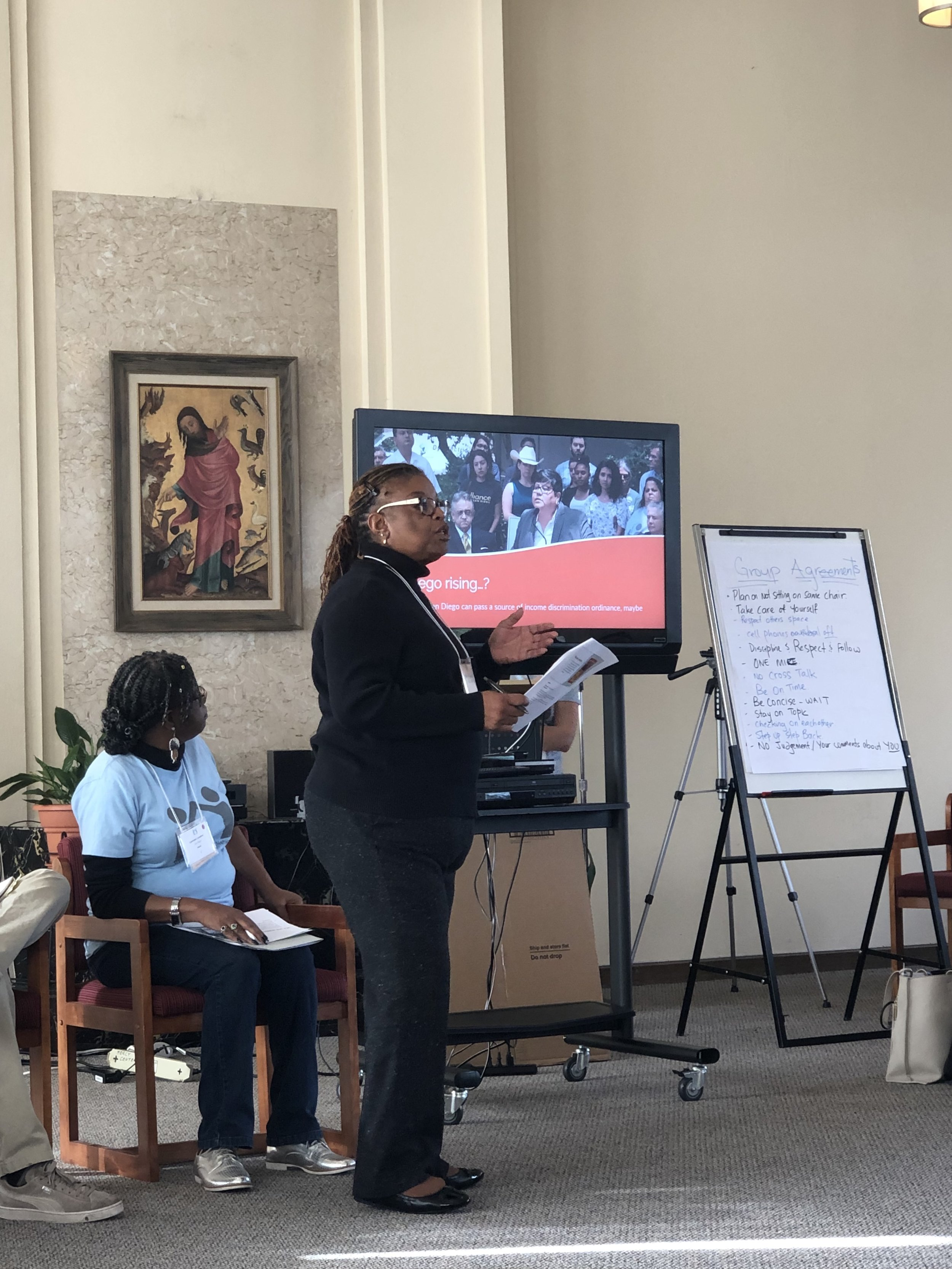 Rickie Brown presenting on Anti-Source of Income Discrimination Ordinance at Summit, Nov 2018