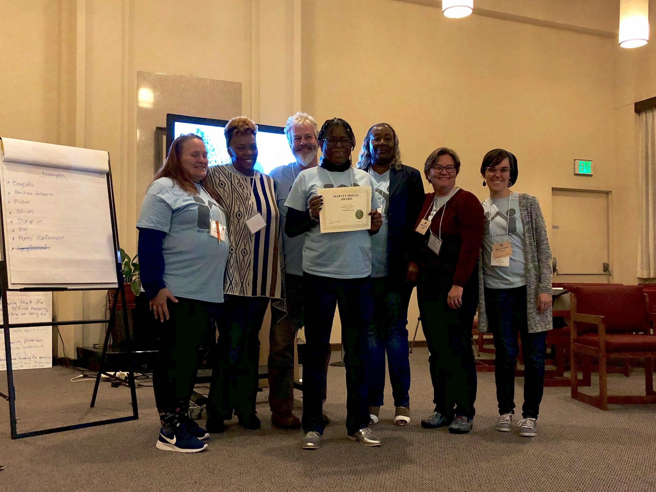 Lavearn London receiving her Harvey Shells Award, Nov 2018