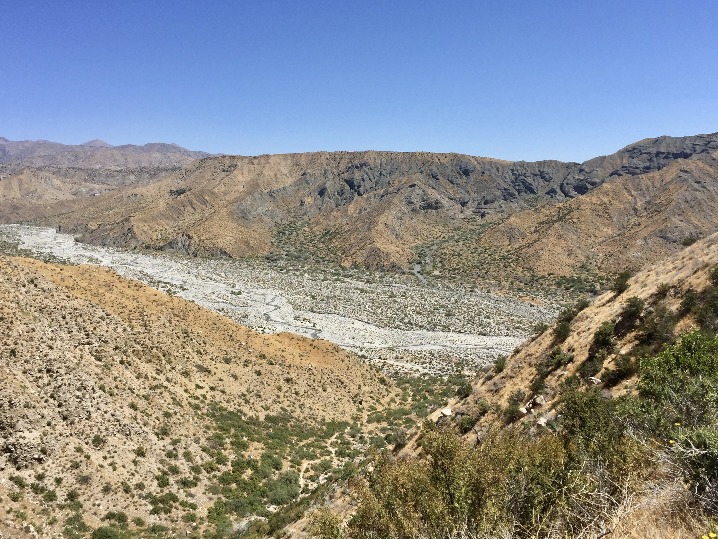 Looking down towards beautiful Whitewater preserve.