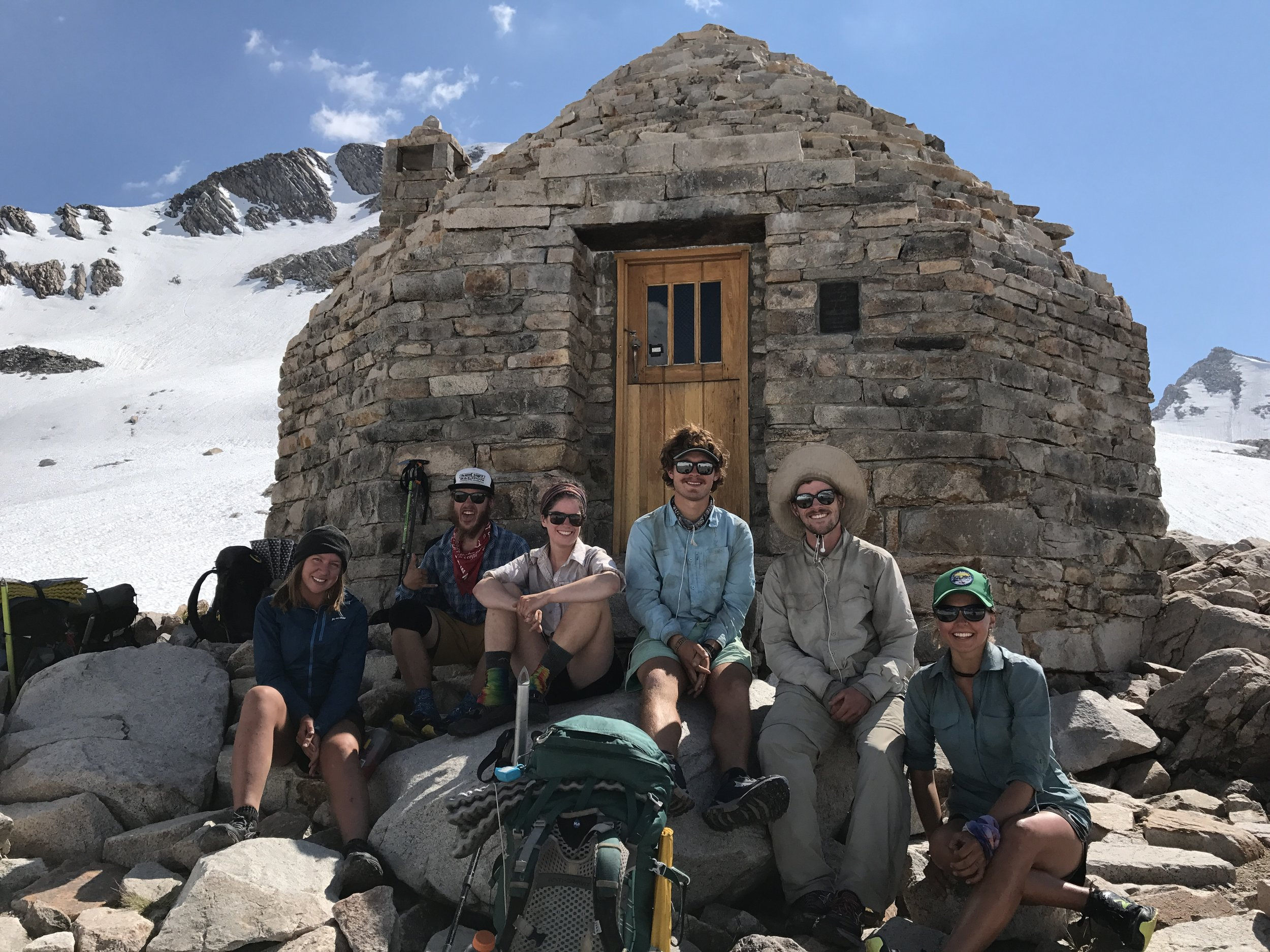 Squad portrait at Muir hut. Myself, Cody, Sara, Cy, Lukas, Jade