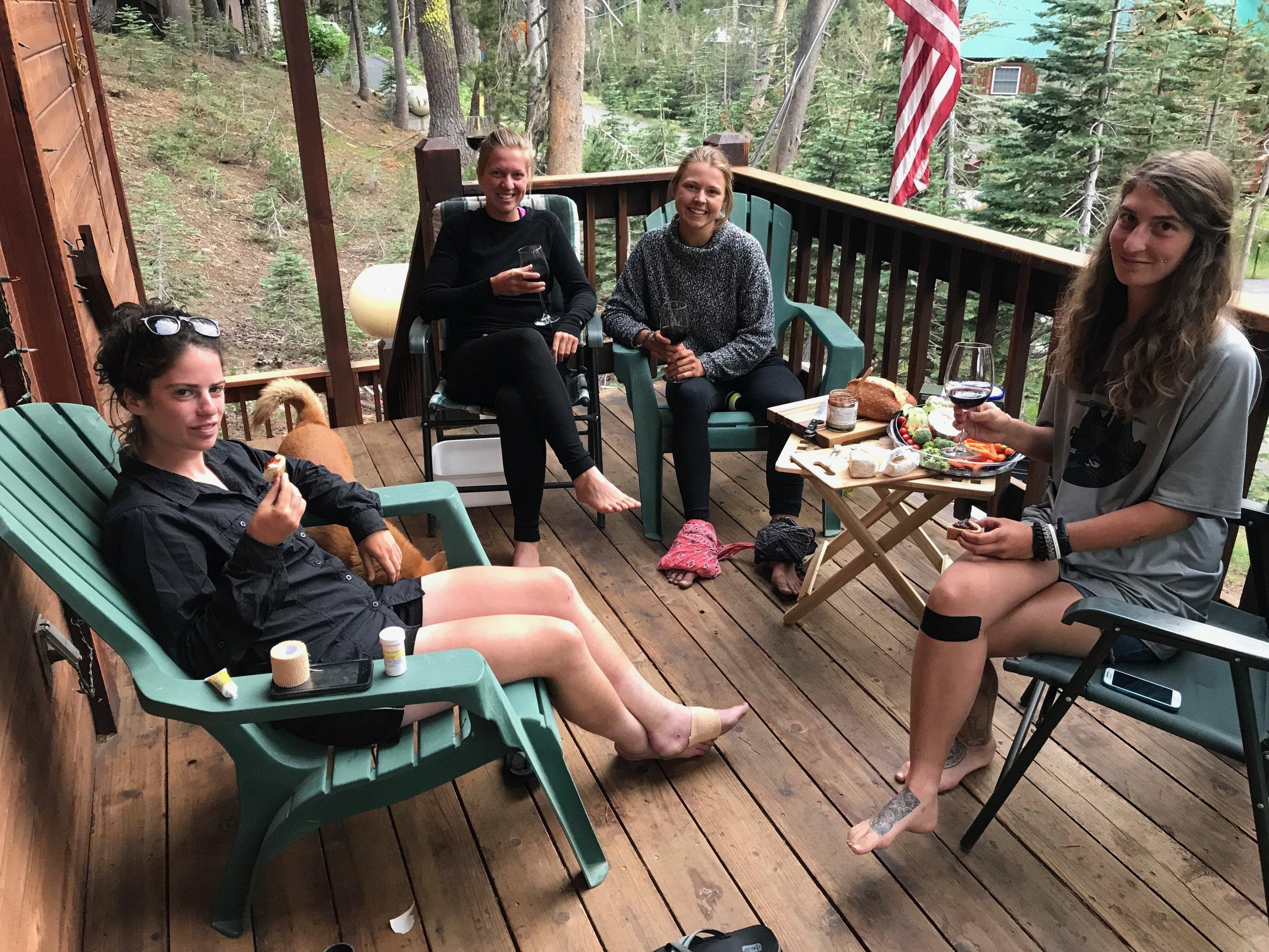 Wine night with Sara, Jade and Val. Sara gets antibiotics instead of wine