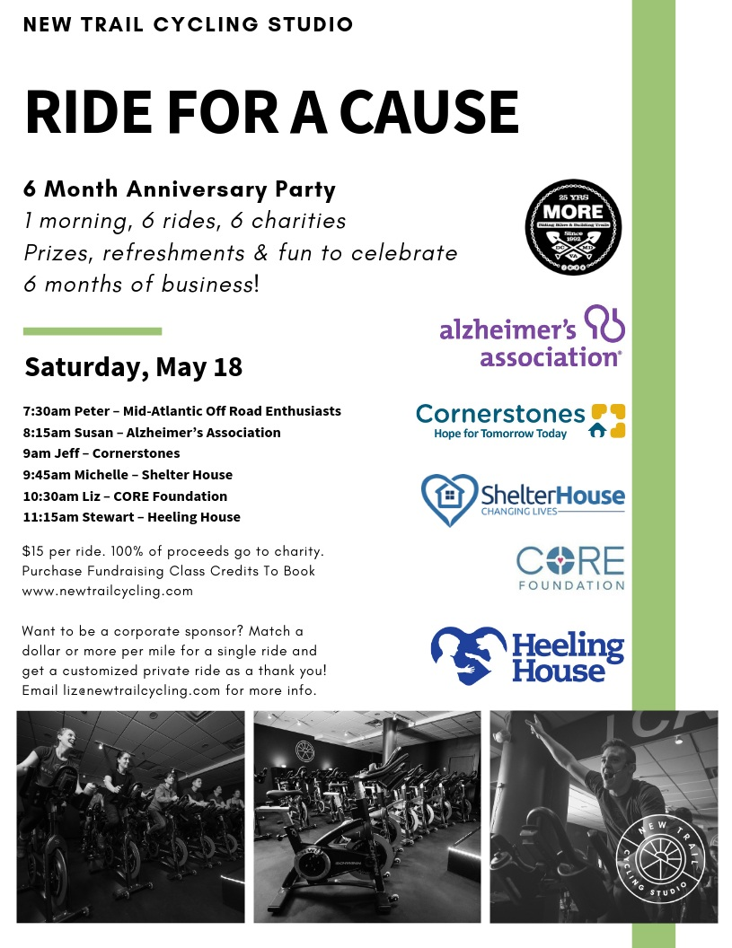 Join us for a day of giving back to the community! - To book your ride click HERE.Interested in sponsoring a ride? Email Liz Kamp at liz@newtrailcycling.comClick HERE for a letter to share with a corporate sponsor.