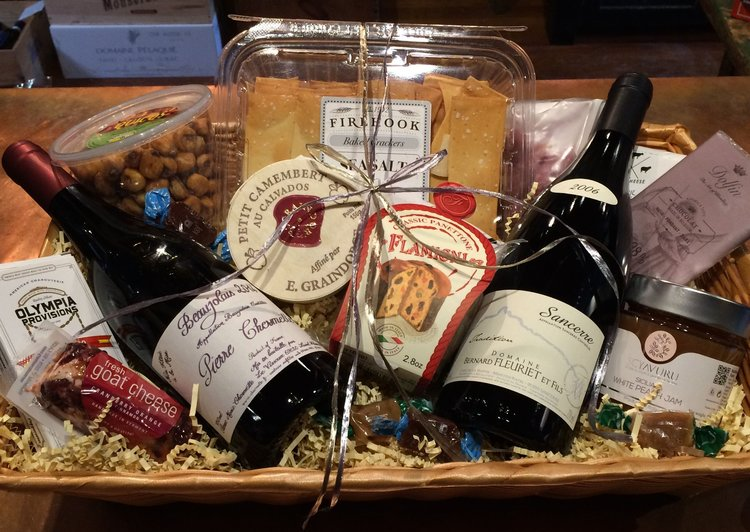 GIFTS - Fill a basket or black box for any occasion. Everyone appreciates a thoughtful gift of exceptional wine & cheese, jams & chocolates, unique mustards and canned seafoods, quality salamis sticks and so much more! Our suggested baskets start at $50.