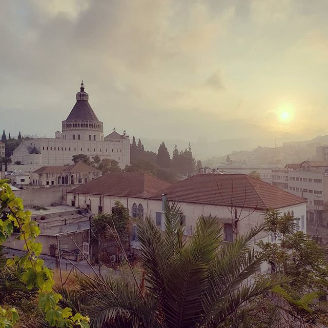 #sunrise over #Nazareth and the church if Annunciation