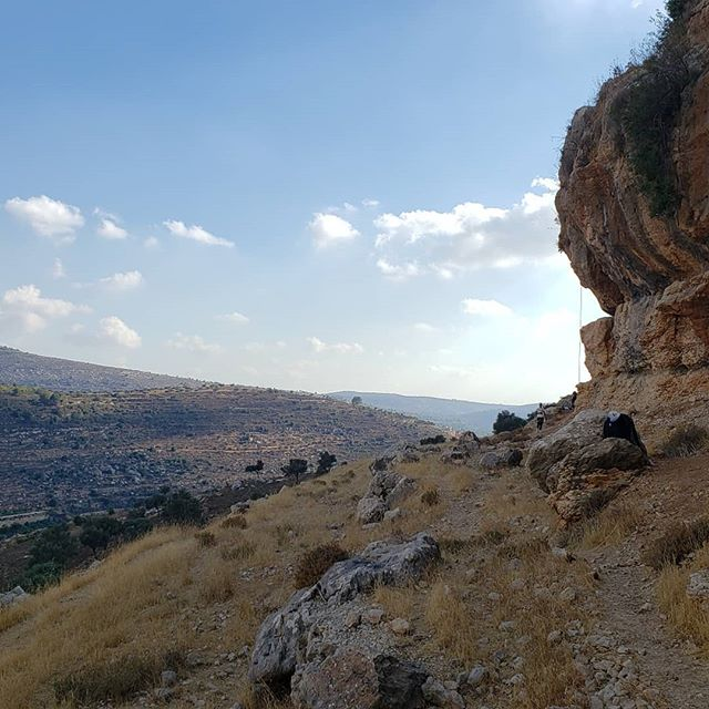 Rock climbing some nice #overhangs in Palestine.  Wierdly Dr Evils lair was opposite us.  Hanging out with locals was fascinating. Dude on right was an A&E doctor in Ramallah with some crazy stories  #nofilter #climbing #westbank