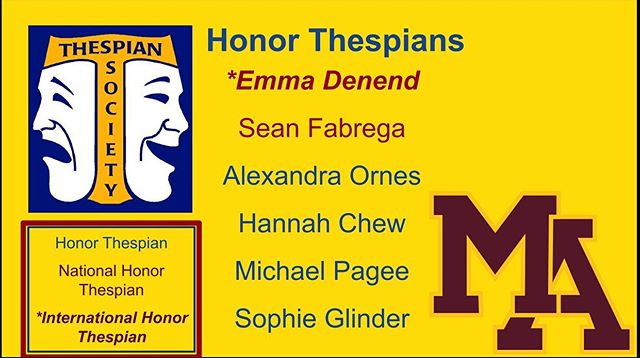 ITS Troupe 6035 Congratulates the academic accomplishments of our 2019 Graduates, achievements of our Honor Thespians, and welcomes our new members.