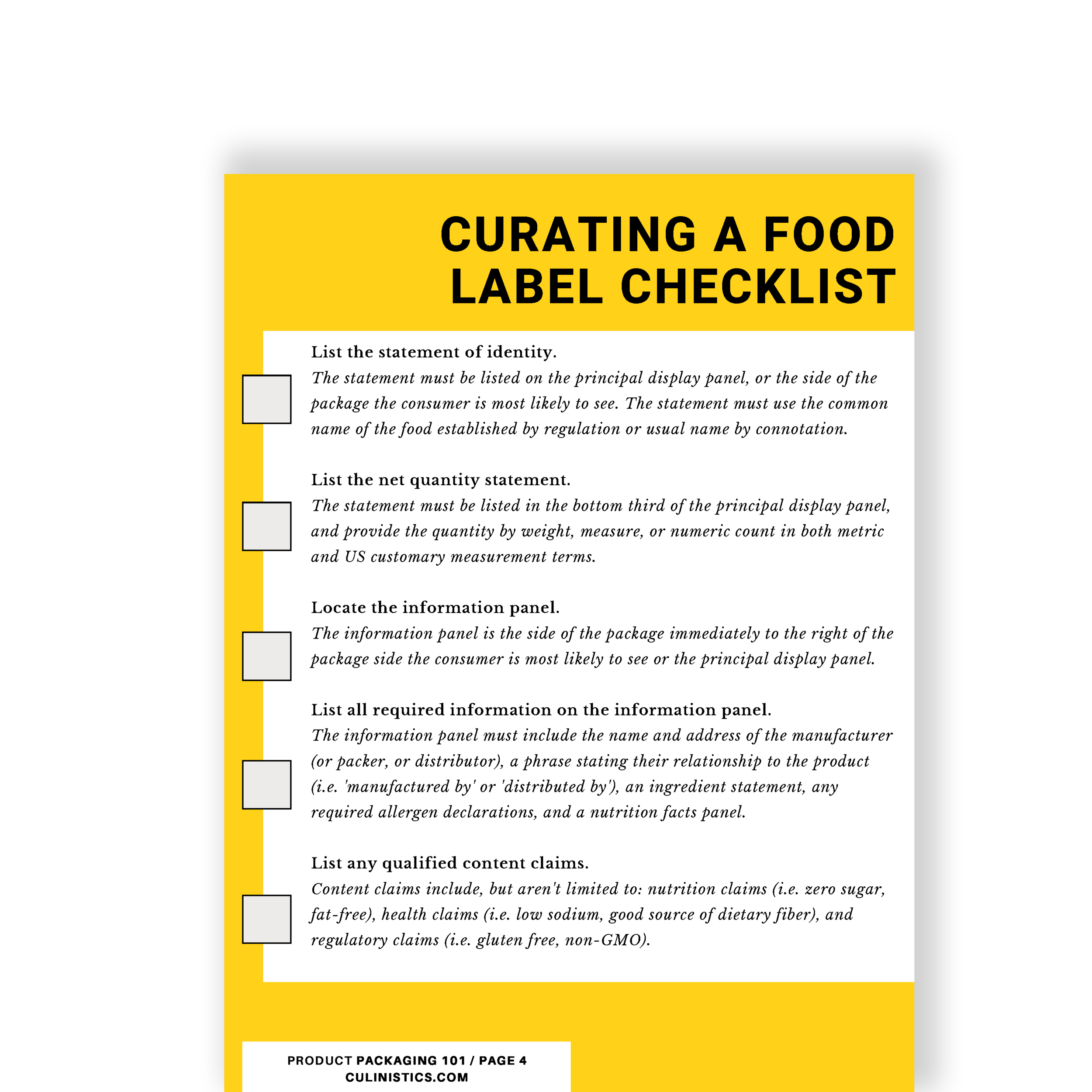 A guide to the food labeling requirements you need to meet and a free food packaging pdf checklist